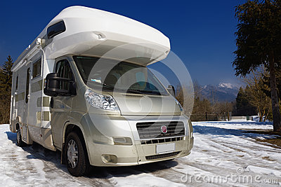 Camper parked on snow