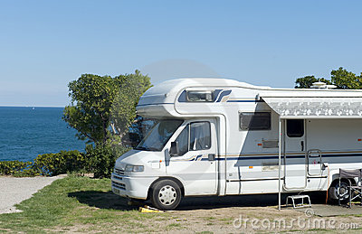 Camper at seaside