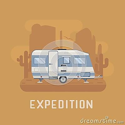 camper trailer on desert national park area stock