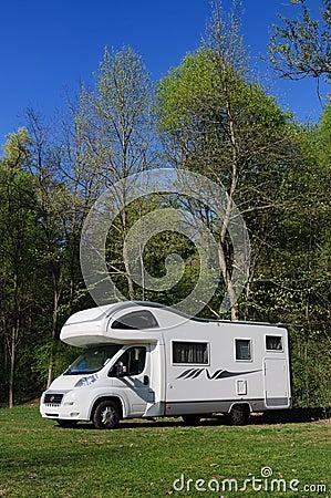 Camper van parked in countryside