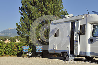 Camper with view at the Mont Ventoux