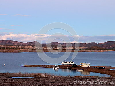 Campers and Boats Parked on Lake Pleasant Shoreline Stock Photo