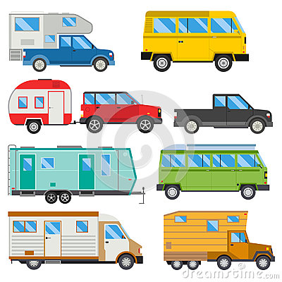 Campers vacation travel car summer nature holiday trailer house vector illustration flat transport Vector Illustration