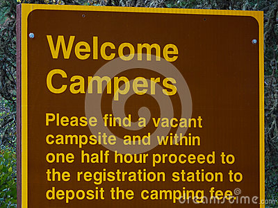 Campers Welcome Sign with Registration Rules Stock Photo