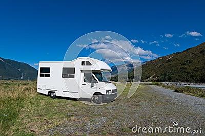 Campervan on a rest area