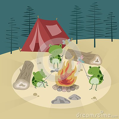 Free Campfire And The Frogs Stock Images - 143450654