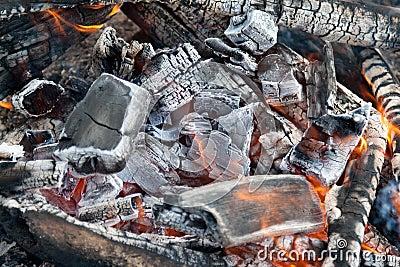 Campfire burning coal