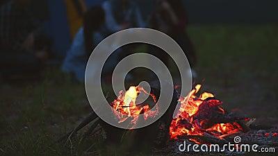 Campfire in de nacht met camping people background in weideveld op picnic Bonfire in het donker Oranje en gele brandenergie stock video