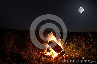 Campfire with full  moon