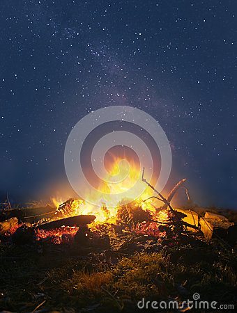 Free Campfire In The Night Royalty Free Stock Image - 66568576