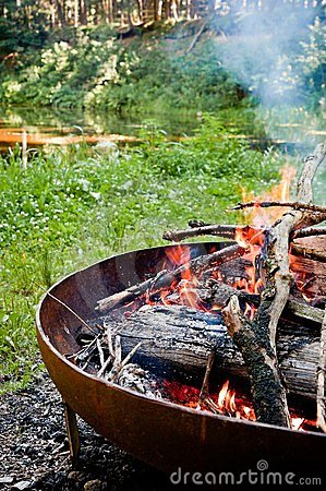 Campfire in the wilderness