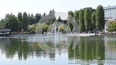 Campina, Румыния - 16-ое августа 2018: панорамный статический взгляд проклятого озера ` s невесты или озера церков показывая зеле сток-видео