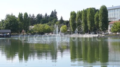 Campina, Romania - August 16, 2018: panoramic static view of the cursed Bride`s Lake or the Church Lake showing green trees and wa. Ter fountain situated in stock video