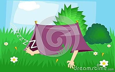 Camping Cartoon Illustration