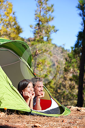 Camping Couple In Tent Romantic Looking At View Stock ...