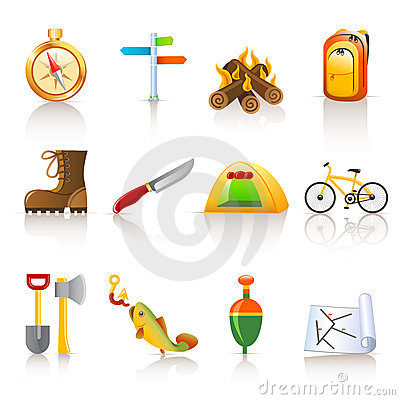 Free Camping Icons Royalty Free Stock Images - 13643899