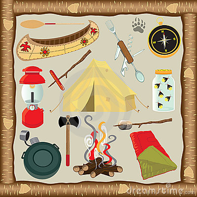 Free Camping Icons And Elements Stock Photos - 19969843
