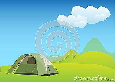 Camping in idyllic mountain