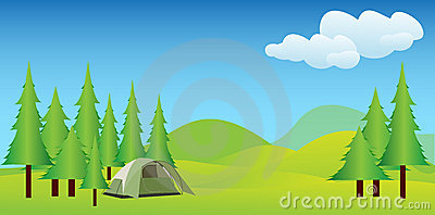 Camping in idyllic mountains