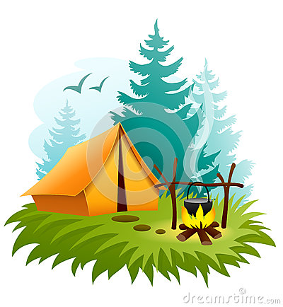 Free Camping In Forest With Tent And Campfire Royalty Free Stock Image - 38495356