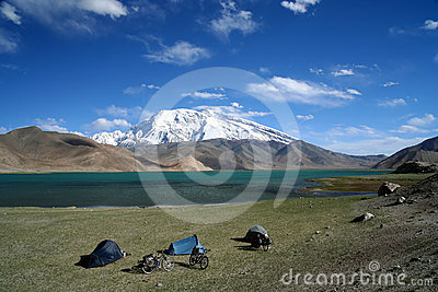 Camping at Kara Kul lake