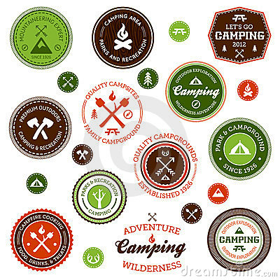 Free Camping Labels Royalty Free Stock Photos - 23628978