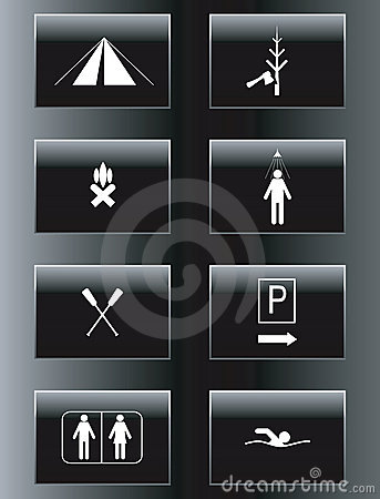 Camping leisure  icon set.