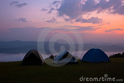 Camping on the mountain at Nan Thailand.
