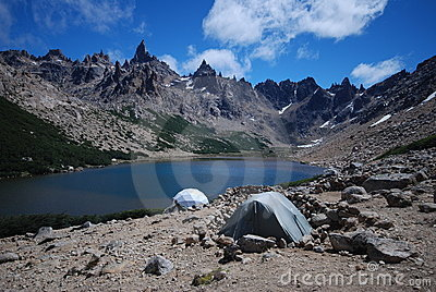 Camping near a blue lake