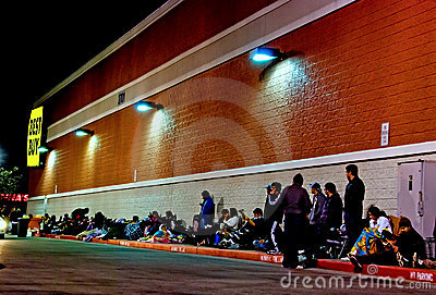 Camping out Best Buy Editorial Image