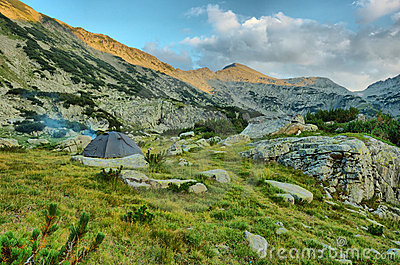 Camping in the Pirin mountains,Bulgaria, HDR