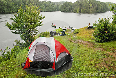 Camping site by a wilderness lake