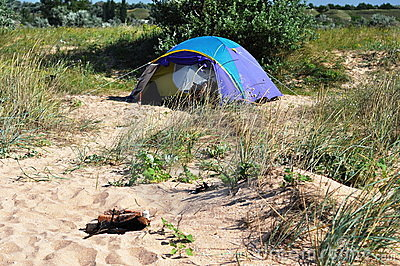 Camping tent on the beach