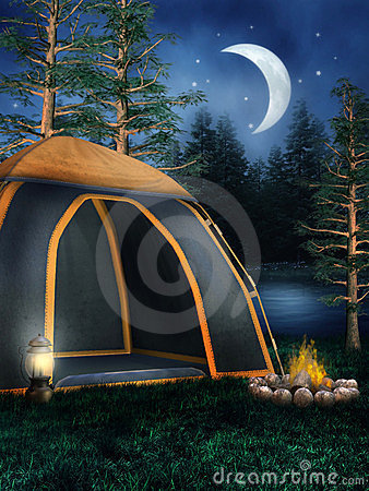 Camping tent and a bonfire