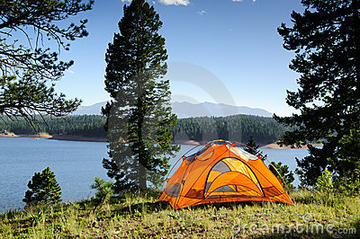 Camping Tent by the Lake in Colorado