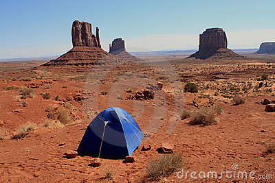Camping Tent In Monument Valley Royalty Free Stock Image