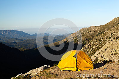 Camping and tent in mountains