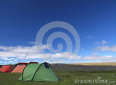 Camping tents in the nature