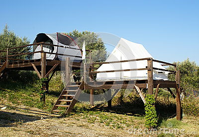 Camping tents on stilts