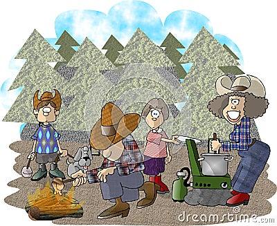 Camping trip Cartoon Illustration