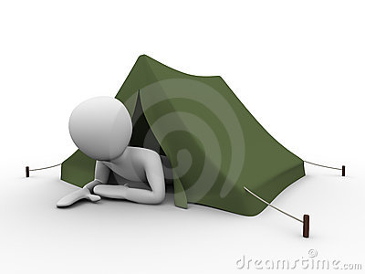 Camping, vacation: man crowling out from the tent
