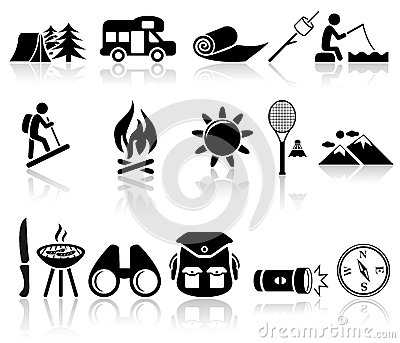 Camping vector icons set. EPS 10.