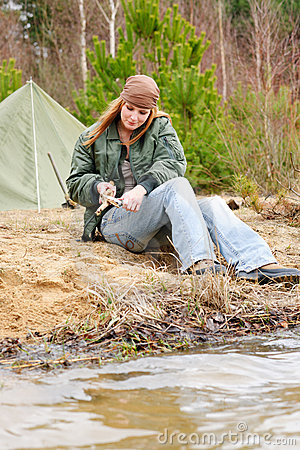 Free Camping Woman Tent Nature Cut Stick Royalty Free Stock Photography - 19127277