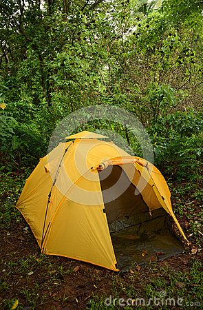 Camping with a yellow tent in the wilderness in Panama