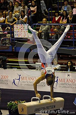 Campionati relativi alla ginnastica artistici europei 2009 Fotografia Editoriale