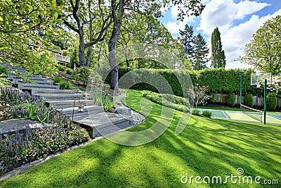 Campo de ténis com paisagem da casa e grama verde-clara.