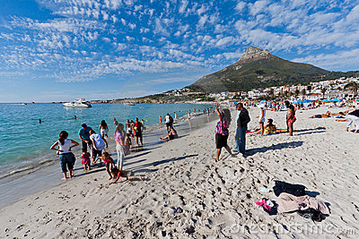 Camps Bay beach and Lions Head Mountain Editorial Stock Photo