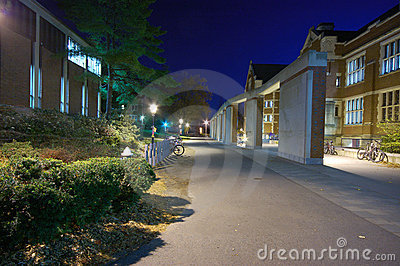A campus at night