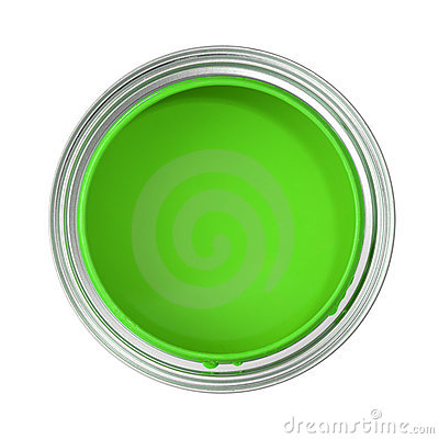 Can Filled With Green Paint Stock Photography Image 3541222