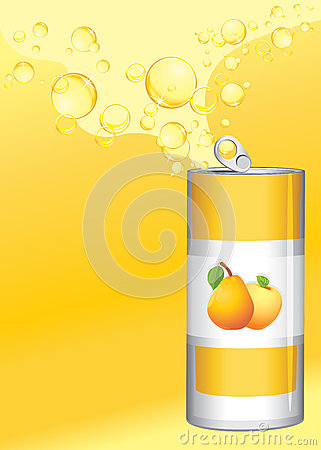Can with fruit lemonade on the yellow background